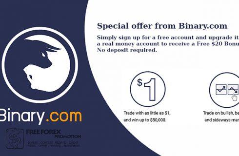 Binary.com $20 No deposit Bonus
