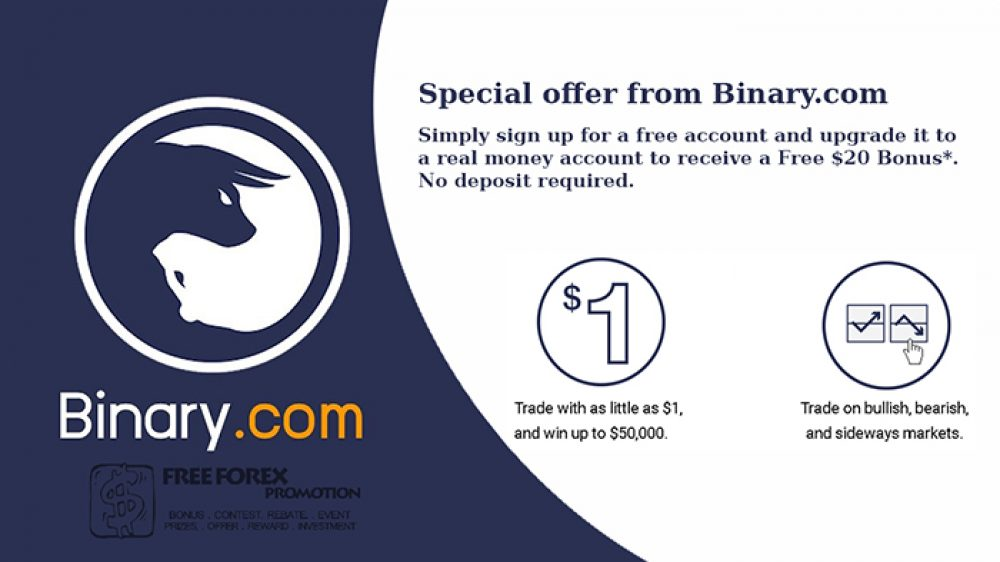 Binary.com $20 No deposit Bonus